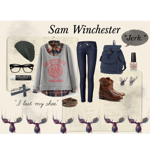 """Sam Winchester"" by bethanyelliott on Polyvore: Large Retro Clear Lens Nerd Hipster Wayfarer Glasses 8789"