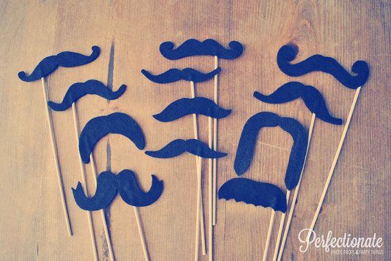 Felt Mustache Photo Props // Set of 12 // Double-Layered // Favors // Wedding Photo Booth Props // Handlebar // Assorted Props via Etsy
