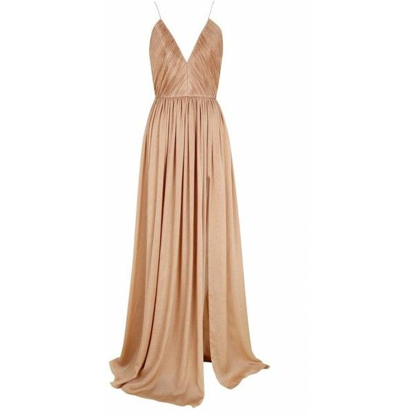The 2nd Skin Co Nude Muslin Dress With Plunging Neckline (£1,140) ❤ liked on Polyvore featuring dresses, gowns, long dress, vestidos, nude, nude dress, slit gown, muslin gown, deep v neck long dress and draped evening gown
