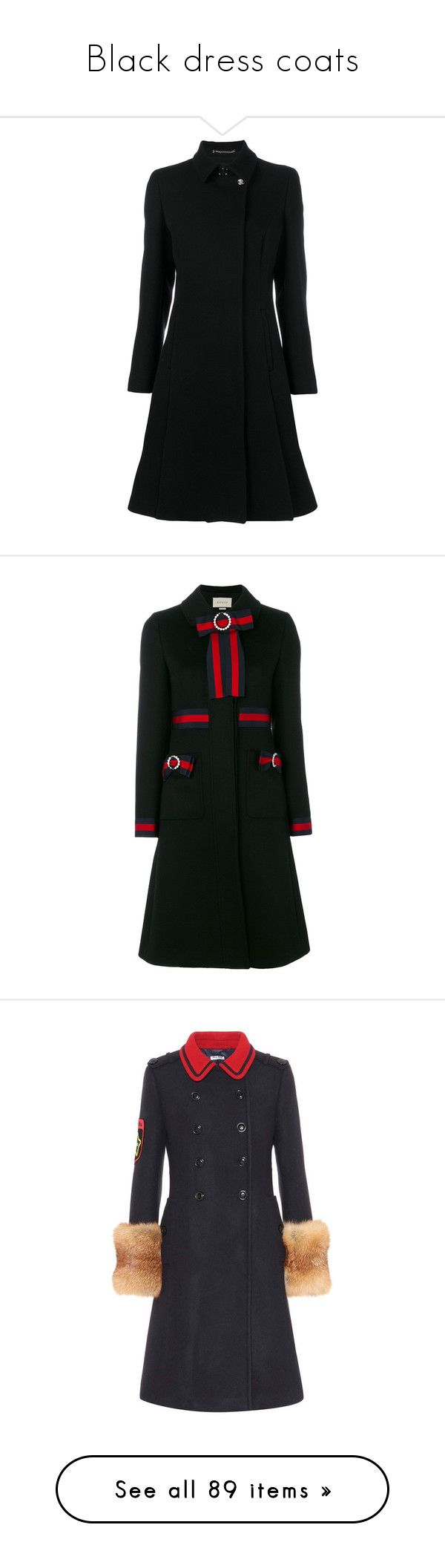 """""""Black dress coats"""" by dresslikearoyal ❤ liked on Polyvore featuring outerwear, coats, black, versace, flared coats, versace coat, flare coat, bow coat, gucci and mid length coat"""