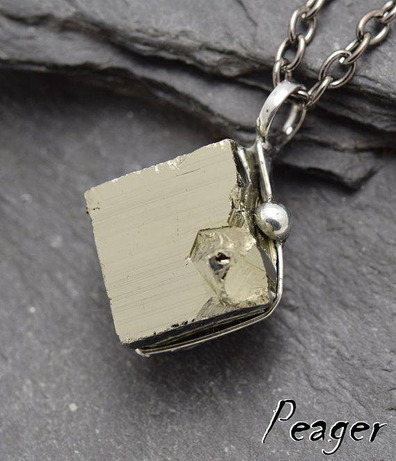 Cube Pyrite necklaceNatural Pyrite Pendantmens Amulet