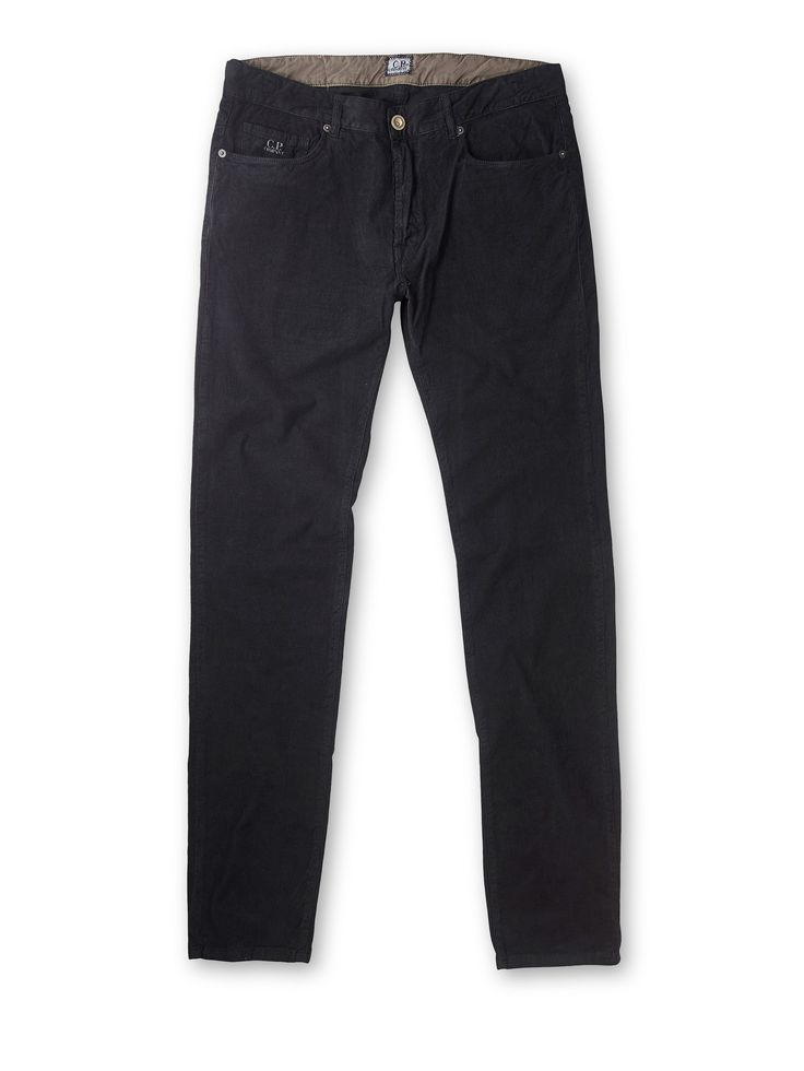 Slim Fit Five-Pocket Stretch Corduroy Trousers in Black