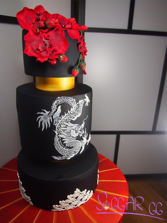 japanese wedding cake by Geraldine - http://cakesdecor.com/cakes/283715-japanese-wedding-cake
