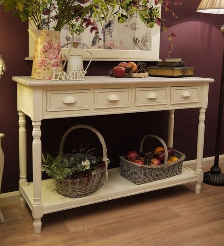 Shabby Chic Farmhouse Country Style Cream Console Side