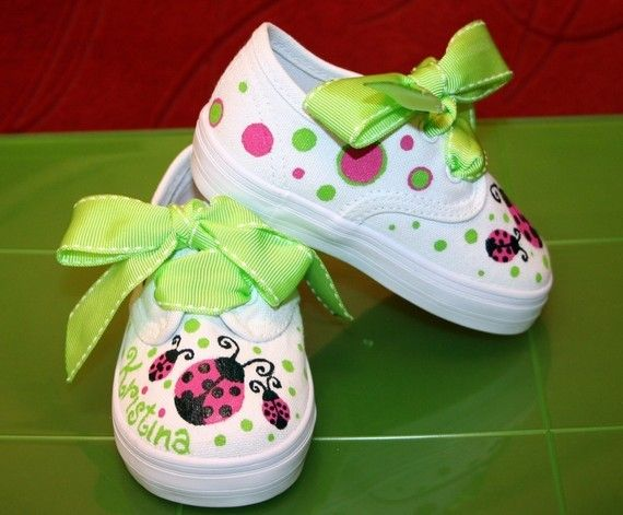 Girl's Custom Painted Tennis Shoes Hot PINK and LIME
