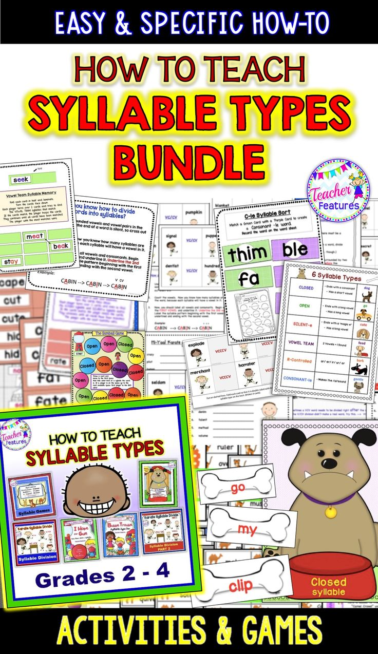 An interactive BIG bundle packed full of games, word sorts, printables and fun activities to teach the 6 Syllable Types. Ideal for small groups, interventionists, word work centers and tutoring for 2nd, 3rd and 5th grade. #ELA #Syllables #SyllableTypes #SilentE #OpenSyllable #ClosedSyllable  #2ndGrade #TeacherFeatures  #SecondGrade #WordSorts #ReadingIntervention #ReadingTutor #SmallGroupReading #OrtonGillingham #3rdGrade #ThirdGrade #4thGrade  #FourthGrade #LiteracyCenter #Phonics …