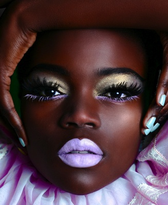Candy pastels on chocolate skin.  Gorgeous!