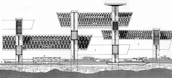 Détail du Plan for Tokyo de Tange (1960). La ville est portée par d'immenses colonnes-noyaux de 150 à 250 mètres de haut. Chaque structure est connectée aux autres via une réseau d'autoroutes et de routes organisé sur trois niveaux.