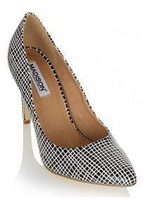 Madison | Grid-print Pointy Heels Black/White