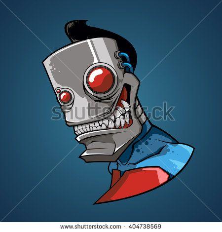 vector illustration. funny robot, face - stock vector
