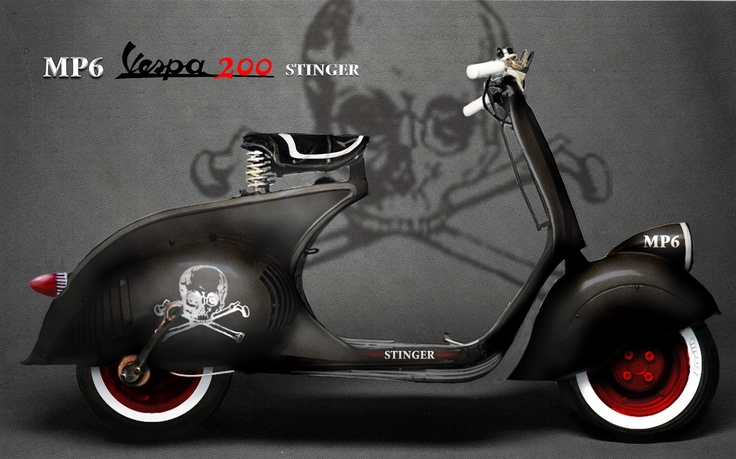 """Awesome custom Vespa. love the skull and cross bones."""