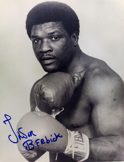 Trevor Berbick (1955 - 2006) Heavyweight Boxing Champion. He fought in the 1976 Summer Olympics in Montreal, and stayed there to turn professional, winning his first 11 fights (10 by knockout) before losing for the first time to Bernardo Mercado in 1979. Berbick lost a title fight to Larry Holmes by unanimous decision in 1981. Two fights later, he beat Muhammad Ali in Ali's last fight.