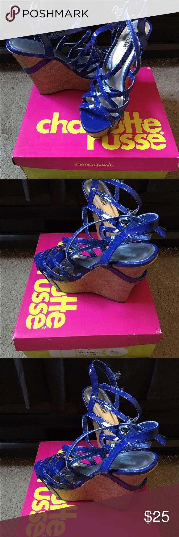Charlotte Russe cobalt blue wedge sandals Charlotte Russe wedge sandals. Cobalt blue. Size 9. Only worn once. 💙 Charlotte Russe Shoes Wedges