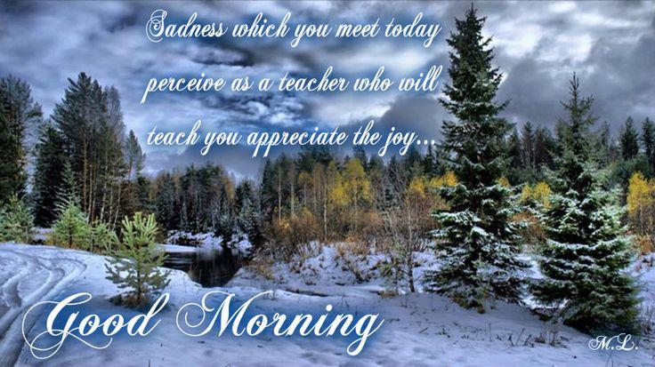 Smutek,který tě dnes potká  ber jako učitele,kteřý tě naučí  vážit si radosti...