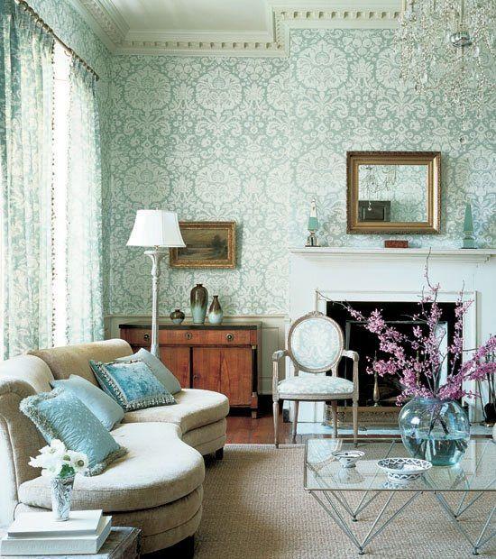 eklektisches design wandgestaltung wohnzimmer tapeten