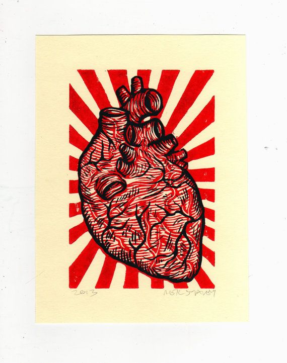 Anatomical Heart Linocut Art Print - try with lungs print with black and whit paint with bright background? Combine two photos