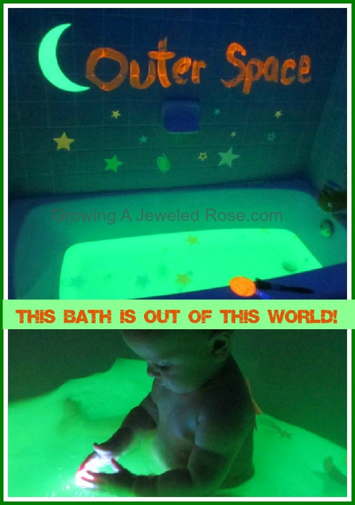 Glowing outer space themed bath so fun for the kids for Space themed bathroom
