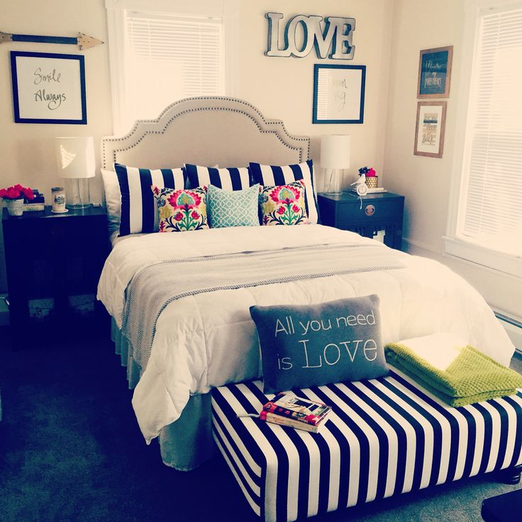 Cozy master bedroom with little pops of color!