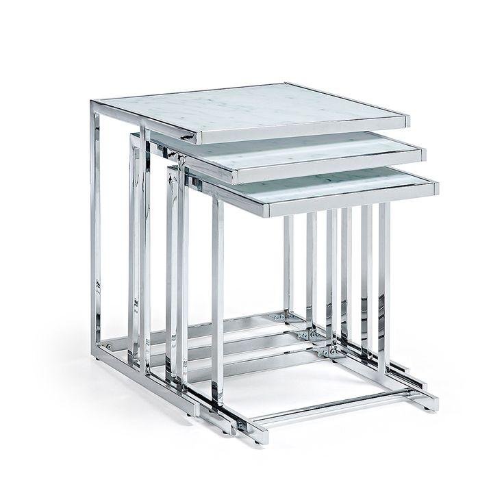 Table Gigogne Bliar, verre effet marbre