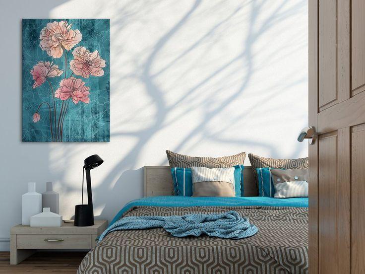 Obraz na płótnie - KWIAT TURKUSOWY - 50x70 cm (05001) (sprzedawca: VAKU-DSGN), do kupienia w DecoBazaar.com
