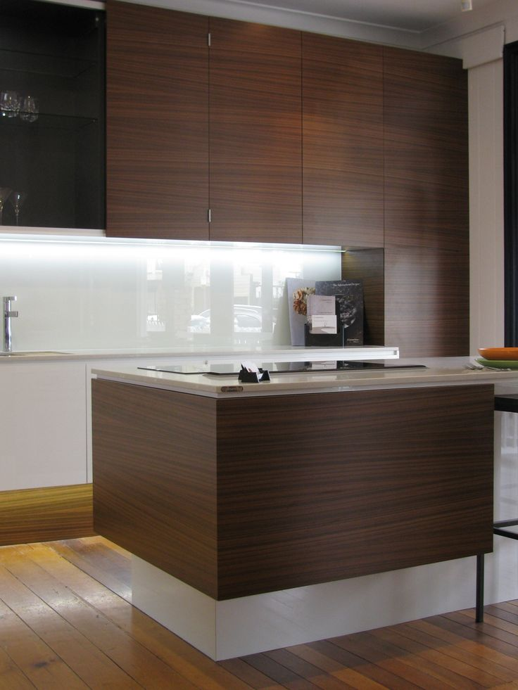 NAV's Pecano Enviroven™ Veneer - Cabinets installed in Style Kitchens By Design showroom located in Paddington, Brisbane -Cabinet makers -Maycut Cabinets