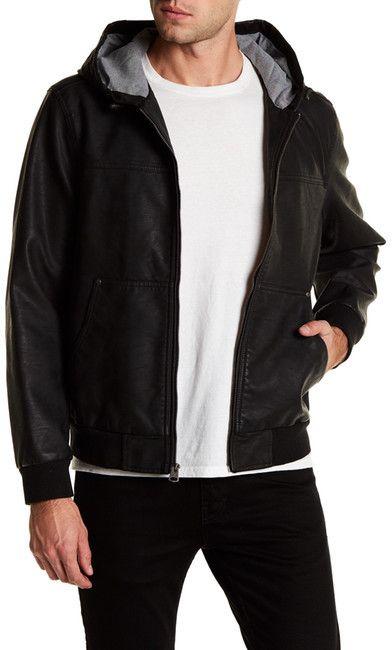 Levi's Faux Leather Hooded Bomber Jacket