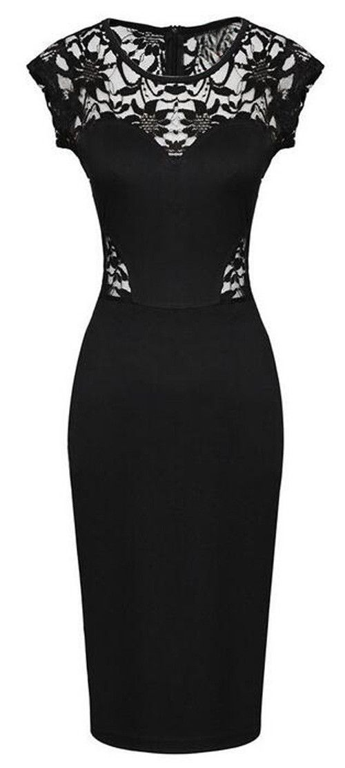 I just picked up a similar vintage LBD that has a boatneck, with a completely black lace back and two front lace collarbone insets. Need heels to take it to the next level!