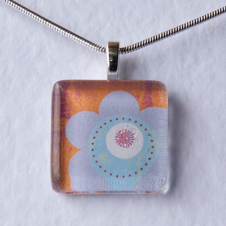 Handmade Glass Tile Blue & Orange Flower Pendant - pinned by pin4etsy.com
