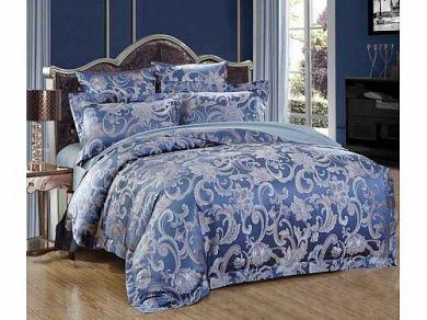 Постельное белье 2-спальное евро тёмно-синий
