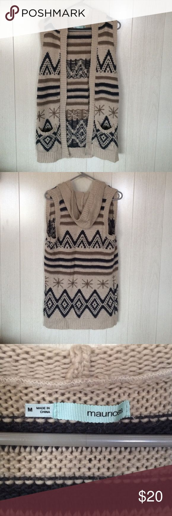 Beige cardigan with designs Beige colored cardigan with black and light brown designs. Mid thigh length. Cable knit. Hooded. Sleeveless. Two front pockets. Very warm! Maurices Sweaters Cardigans