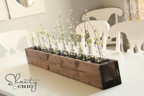 diy centrepiece- use this to make a decorative box for a planter box for indoor herb garden