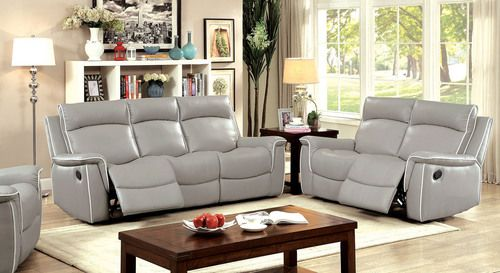 2 PC Furniture of America Salome Collection Grey Reclining Sofa & Loveseat  Set CM6798 - 2 PC Furniture Of America Salome Collection Grey Reclining Sofa