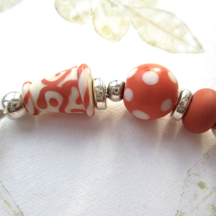 lampwork bead silver ceramic by so the heart bead