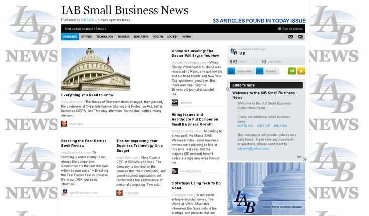 IAB Small Business News Monday April 30, 2012: Small Business