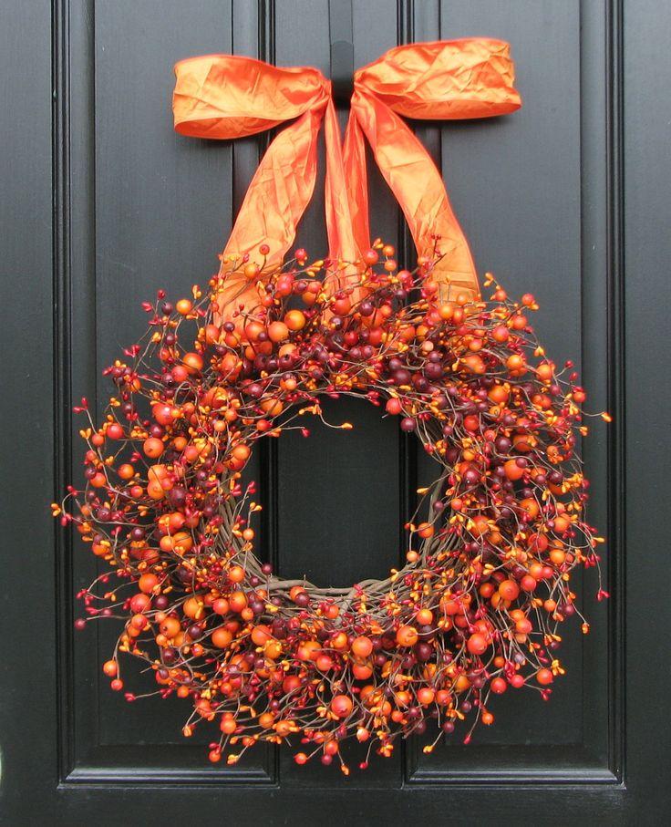 Fall Wreath -  Harvested Berries - Autumn Decorations - Orange Berry Wreaths - Door Wreath by twoinspireyou on Etsy