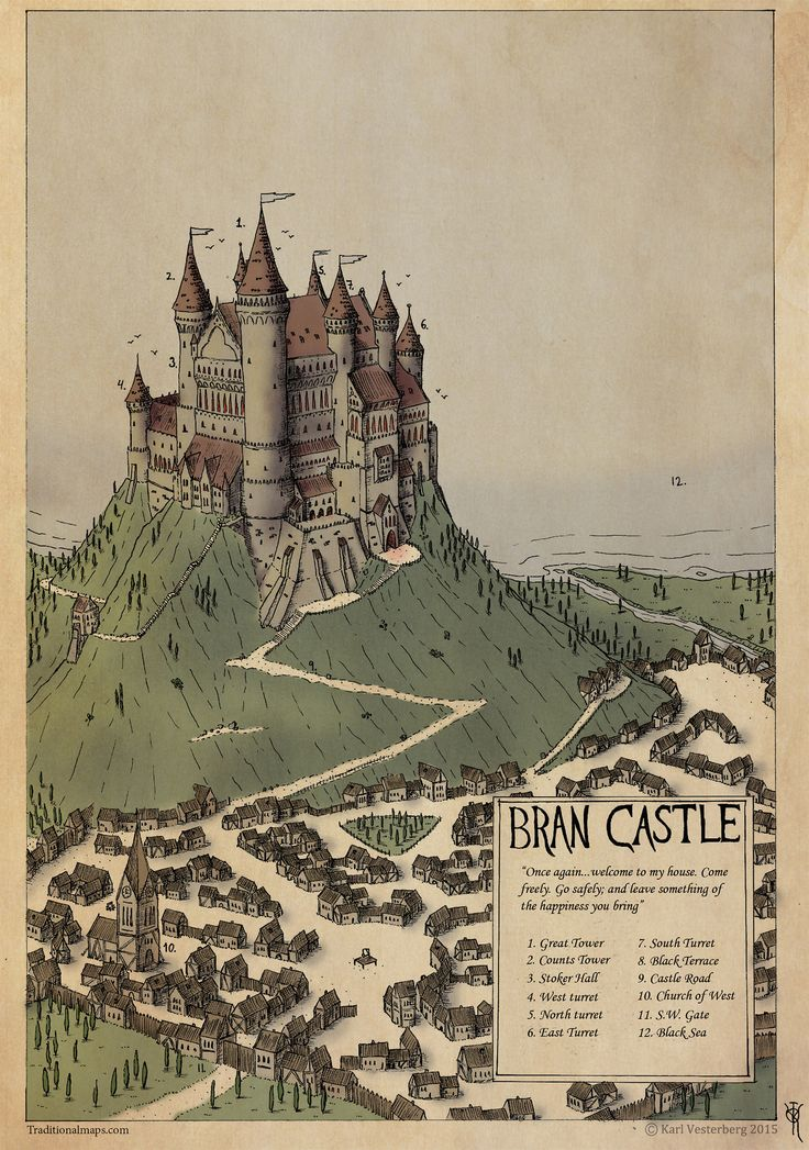 Private Illustration/map: Bran Castle 2014 Color by Traditionalmaps