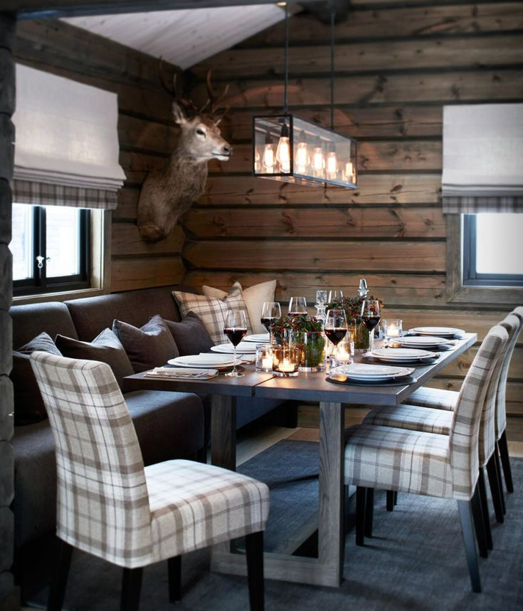 Modern rustic design, wood furnishings, plaid upholstered seating, wood wallcovering, pendant lighting