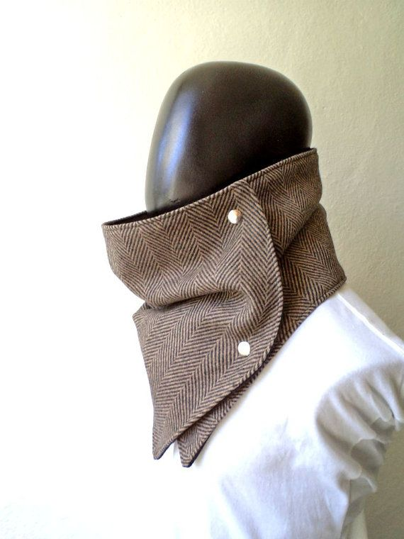 Men scarf. Men cowl,  Extra Wide, Herringbone wool 100% brown and black. Trendy, modern, chunky  and cozy..