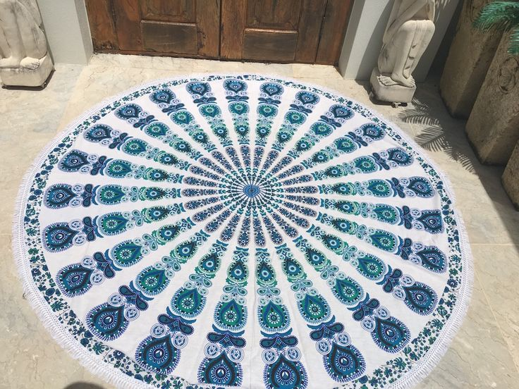 ☾❂☽ Roundie Blue Peacock Life Mandala with fringing ☾❂☽ www.thirteenblessings.bigcartel.com