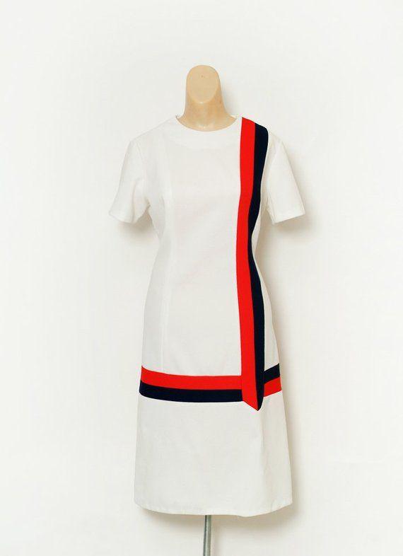 dd8ad089d311 Vintage 60s Dress / Day Dress / 60s Mod Dress / retro dress / 60s Short  Sleeved / red white and blue / 60s Shift Dress / Summer Dress 1960s