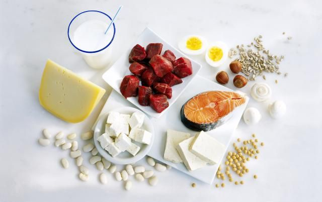List of various high-protein foods - meats, eggs, dairy, seeds, nuts, legumes, and the amount of protein in each food.
