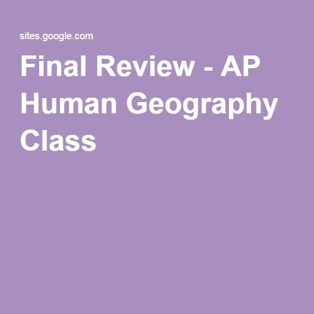 Final Review - AP Human Geography Class
