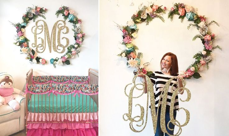 Floral Wreath DIY Finished Images with glittered wood monogram - The perfect wall decor for your baby girl's nursery