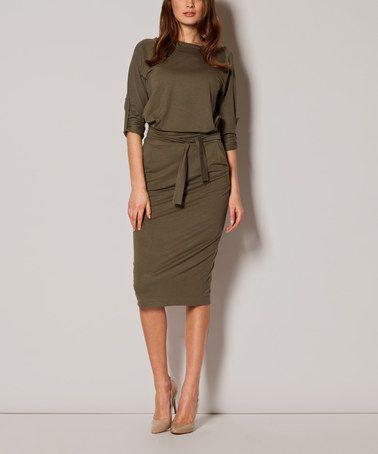 Love this Olive Boatneck Blouson Dress - Women by FIGL on #zulily! #zulilyfinds