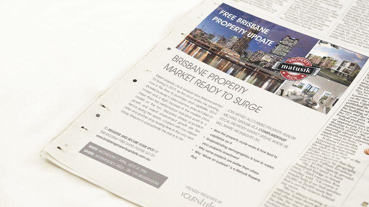 Newspaper advert for property information night in Brisbane