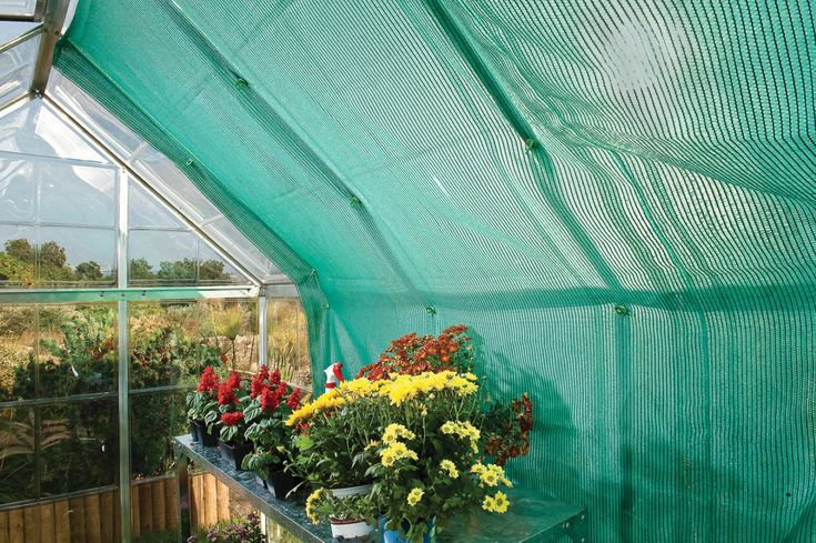 Colour: Green  High impact & durable Shade net Kit Allows 70% Light transmission Screens plants from direct sunlight exposure and helps prevent scorching     Designed to fit Polycarbonate greenhouses up to 8' (2.4m) in length     Fast & easy assembly using Smart-Lock(TM) connectors operating as plant hooks