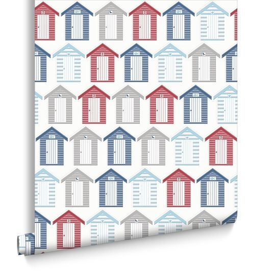 Beside The Seaside Red and Blue and White Wallpaper