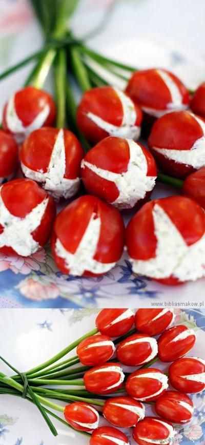 Tomates cerise en bouquet de tulipes
