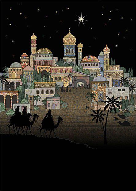 Entering Bethlehem - christmas card design by Jane Crowther, Bug Art
