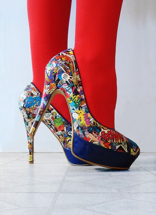 DIY Comic Book Heels. Couldn't get the original link to pin, so I found another source. real page with tutorial is found at: ironspy.tumblr.com/post/25731650044/diy-killer-comic-book-heels-pricetag-around-15